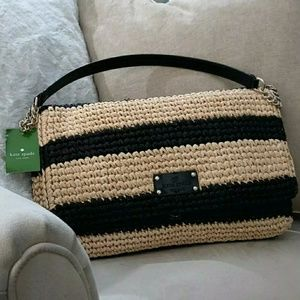 Kate Spade NWT Straw & Patent Leather Black Should